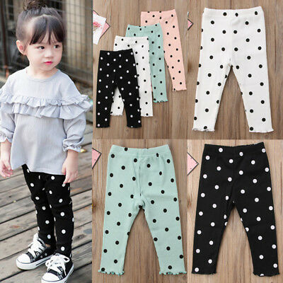 AU Kids Baby Girl Leggings Cotton Trousers Toddler Casual School Pants Clothes