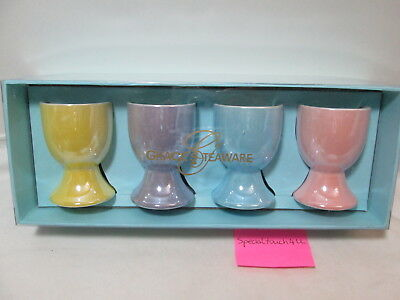Grace's Teaware EASTER Blue Pink Yellow Purple Porcelain 4 pc Egg Cups Holder