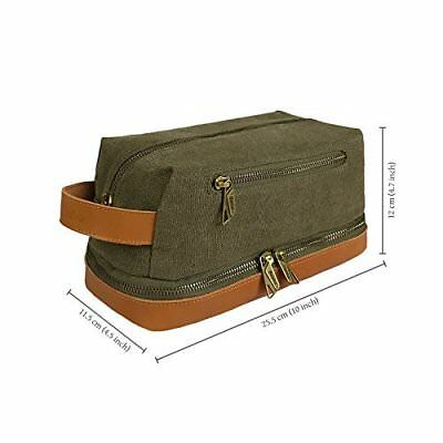 Becko Leather Canvas Travel Toiletry Bag / Shaving Grooming Bag