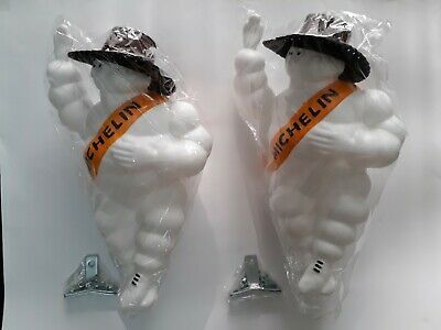 "New 2x14"" FIGURE VINTAGE MICHELIN MAN DOLL BIBENDUM TIRE Leather Hat + Led Light"