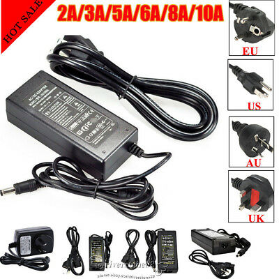 Universal AC DC12V 2A 3A 5A 6A 8A 10A LED Strip Power Supply Adapter Charger Lot