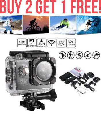 Waterproof HD 1080P Ultra Sports Action Camera Helmet DVR Camcorder + 8 Items