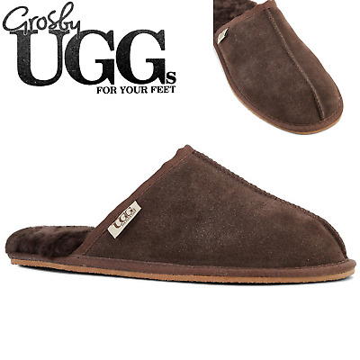 GROSBY Buck UGG Men's Sheepskin Slippers Scuff Slip On Leather Moccasins