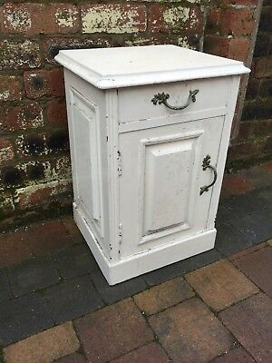 Victorian White Painted Pot Cupboard Bedside Table With Drawer Moulded Wood