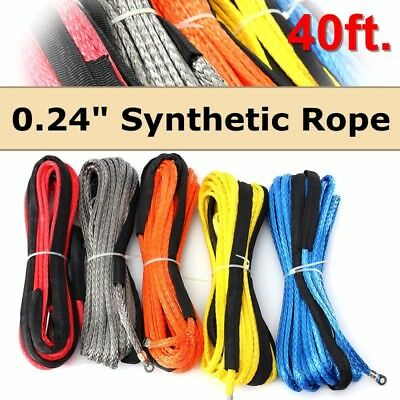 6mmx12m Synthetic Winch Line Cable Rope 6500+ LBs w/ Sheath SUV ATV Vehicle UK