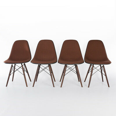 Orange Set (4) Herman Miller Vintage Eames Upholstered Dining Side DSW Chairs