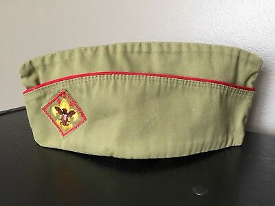 Official BSA Boy Scout Green Garrison Cap Hat BSA Medium 6 3/4 – 6 7/8 Vintage