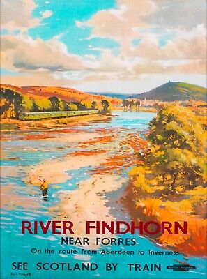 River Findhorn Scotland Great Britain Vintage Travel Advertisement Poster