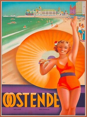 Oostende Ostend Belgium Europe Vintage Travel Advertisement Art Poster Print
