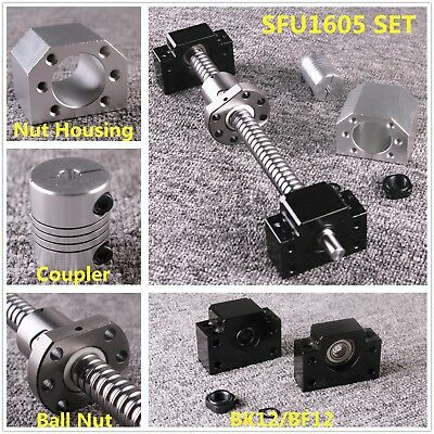 SFU1605 L250-1050mm CNC Ball Screw Set & Ballnut Housing & BK/BF12 & Coupler