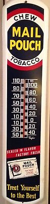 Vintage Mail Pouch Tobacco Sign Thermometer Works EXCELLENT!!