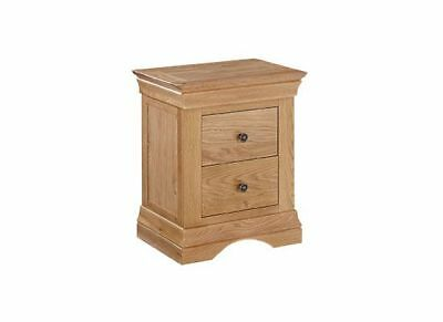 Solid Oak Wooden Farmhouse Country 2-Drawer Bedside Lamp Side Table Cabinet