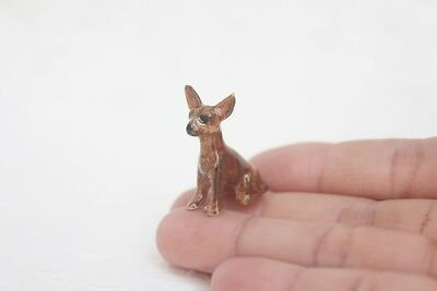 Chihuahua dog Miniature Ceramic Figurine Statue Painted Small Collectibles Gift