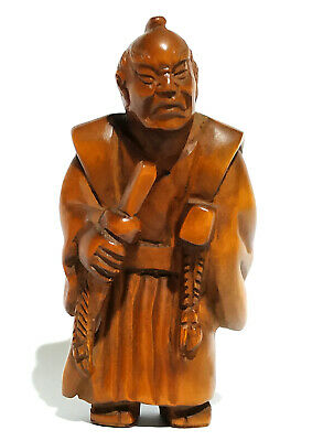 "Y1304 - 2"" Hand Carved Japanese Boxwood Netsuke : Samurai Man"