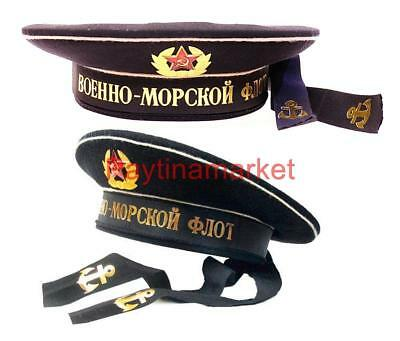 Marine Fleet Russian Peakless cap Sailor Soviet Badge Army Military Hat Uniform