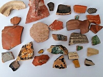 Ancient Lot Roman CeramicsTerracota Pottery Glaze Fragments Mix Jerusalem Israel