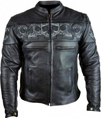 Mens REFLECTIVE SKULL Black MILLED Leather CONCEALED CARRY Racer MOTO Jacket