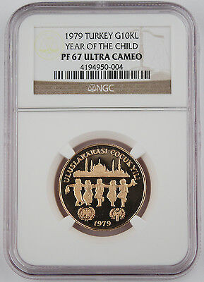 1979 (1981) Turkey 10,000 LIRA .4968 Oz Gold Proof Coin Year of Child NGC PF67
