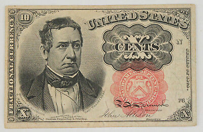 1874-1876 Fractional 10 Cent Currency Note 5th Issue Red Seal XF+ Fr-1265