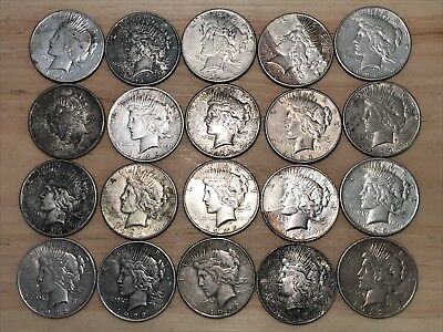 Lot Of 20 Peace Dollars 1922-1926 Mixed Dates And Mint Marks - Great Bargain!!