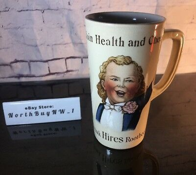 """*RARE* 1890's HIRES ROOTBEER MUG """"Join Health and Cheer Cup Villeroy & Boch VTG"""