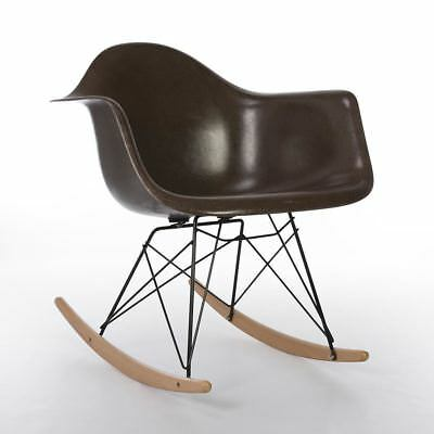 Brown Herman Miller Original Vintage Eames RAR Rocking Arm Shell Chair
