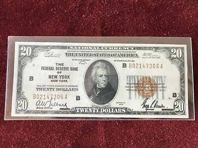 1929 $20 National Currency The Federal Reserve Bank Of New York Ny