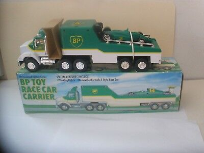 1993 Bp Toy Race Car Carrier Truck Trailer- Limited Edition Series Lights