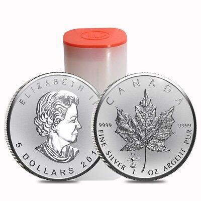 Roll of 25 - 2018 1 oz Silver Canadian Maple Leaf Light Bulb Privy Reverse Proof