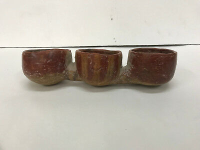 Authentic Pre-Columbian three connecting bowls