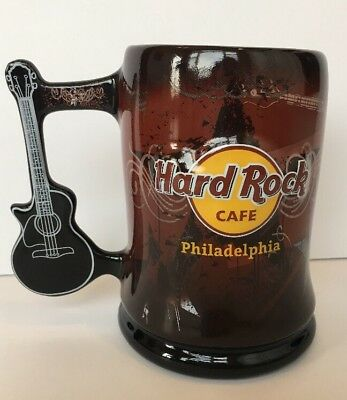 New Rare Hard Rock Cafe Mug Guitar Handle Philadelphia Love All Serve All