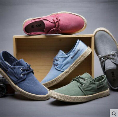 b56424a453 Men New Fashion Canvas Espadrilles Derby Lace-up Casual Flat Shoes Sneakers
