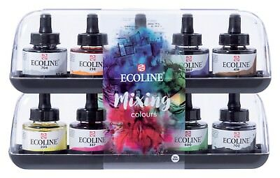 Talens Ecoline Dye Based Liquid Watercolour Ink Mixing Colours Set 10 x 30ml