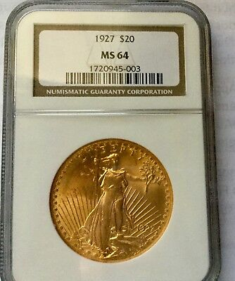 1927 20$ Gold Ngc Ms64