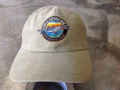 New Rare Vintage CONCH REPUBLIC RUM COMPANY Logo Hat Cap, KHAKI TAN