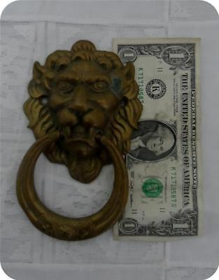 Handsome Vintage Brass Lion's Head Door Knocker