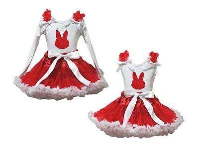 Easter Rose Bunny White Cotton Top Red White Girl Skirt Set 1-8Y