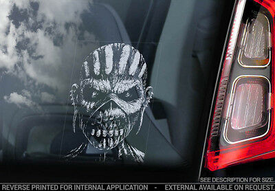 Iron Maiden 'Eddie'- Car Window Sticker - The Book of Souls Mask Head - v10