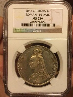 Double Florin 1887 Ngc Ms63+ Roman 1 In Date 4S Great Britian