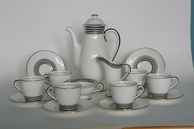 Royal Doulton ART DECO Coffee Service for 6 - H4244 Concentric Silver Bands 1934