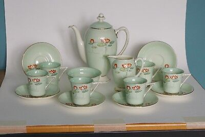 Royal Doulton ART DECO Coffee Service for 6 - V2132 Water Lilies - around 1939
