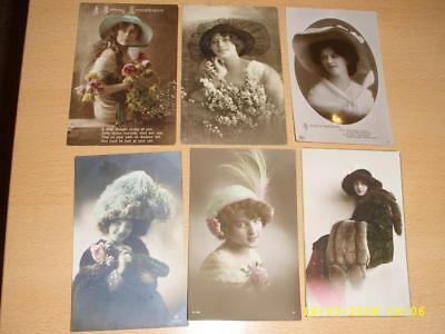 Glamour Ladies With Fabulous Hats - Vintage Greeting Postcards