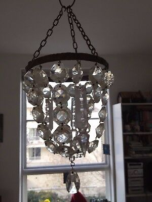 Crystal Drop Chandeliers Light-Shades (Edwardian?) - Very Pretty
