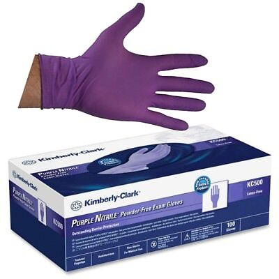 Kimberly-Clark KC500 Nitrile Powder Free Exam Gloves Purple L 100-Count