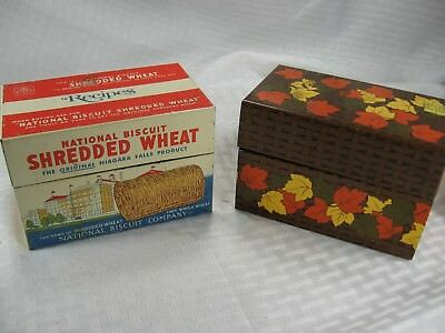 (2) Vintage Tin Litho Recipe Boxes NABISCO SHREDDED WHEAT Cereal SYNDICATE 1973