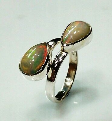 925 STERLING SOLID SILVER 5 gm DESIGNER HANDMADE RING SIZE 7.5 NATURAL FIRE OPAL