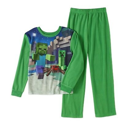 Boys Minecraft 2pc Flannel Pajamas Set Size 10/12 New with Tags Gamer HTF Kids!!