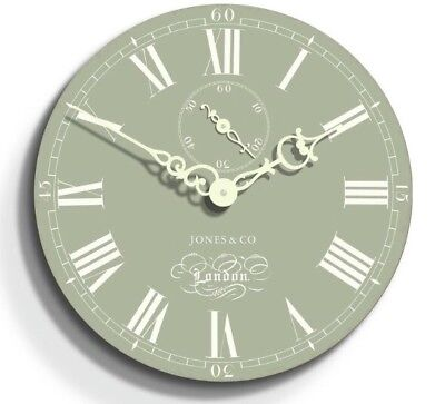 Jones Green With Cream Roman Numerals & Hands Wall Clock Vintage Kitchen 30cm