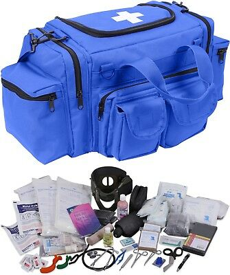 Blue 200 Pcs Emergency Medical Trauma Kit Carry Bag & First Aid Supplies EMT EMS