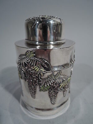 Antique Tea Caddy  - Asian Export - Wisteria - Japanese Silver Enamel - Meiji